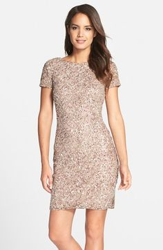A scooped back adds an elegant flourish to a classic sheath dress embellished with a latticework of glittering beads and scintillating sequins. Color(s): mink. Brand: Adrianna Papell. Style Name: Adrianna Papell Short Sleeve Beaded Cocktail Dress. $298.00 by nordstrom