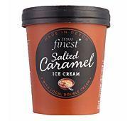 Tesco Finest Cornish Salted caramel ice cream with a salted caramel ripple. Salted Caramel Ice Cream