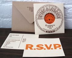 VINYL INVITATIONS, ETC.  http://www.intimateweddings.com/blog/vintage-vinyl-wedding-details/#