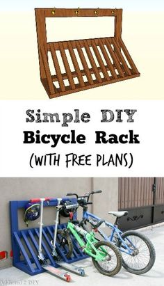 This is SUCH a smart idea! I love that there are even hooks for the helmets! Free building plans for Bicycle Rack {Addicted2DIY} Bike Racks For Garage, Bike Storage Garage Diy, Diy Bike Rack, Bike Storage Rack, Wood Bike Rack, Outdoor Bike Storage, Scooter Storage, Bicycle Garage, Garage Organization Bikes
