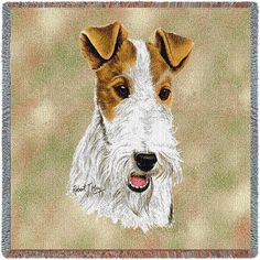 "Wire Fox Terrier Dog Portrait Art Tapestry Lap Throw  (Artwork...animal artist, Robert May. 54"" width x 54"" length Jacquard woven 100% cotton art tapestry. Not a print.)"