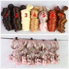 7Pcss/lot NEW 15CM*100CM Fashionable BJD SD DIY Curly Wigs High Temperature Wire Doll Hair Involtini Alla Romana Thick bjd Wig