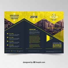 Dark and yellow trifold brochure template