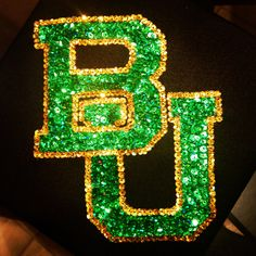 My Baylor graduation cap! I made it by hot gluing on individual sequins one at a time.