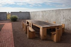 I have always wanted a huge chunky outdoor table like this