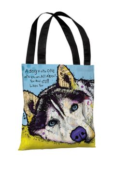 "Pet Pop Art From Dean Russo Siberian Husky with Text 18"" Polyester Tote Bag $29.00"