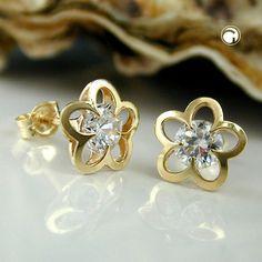 Stecker, Blume mit Zirkonia, 9Kt GOLD