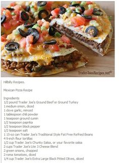 Mexican Pizza Recipe. Tastes just like taco bell.