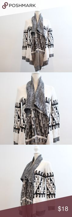 "Aztec Warm Cozy Waterfall Cardigan Beautiful Aztec Print Cardigan  Very warm, thick, soft and cozy!  Colors: black gray beige white  Size Small 100% Acrylic  Bust: 18.5"" Length: 32"" Sleeve length: 18"" Excellent pre-loved condition no flaws, no pilling Sweaters Cardigans"