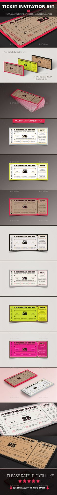 Ticket Invitation Set Template #design Download: http://graphicriver.net/item/ticket-invitation-set/11303106?ref=ksioks