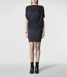 Womens Pia Jersey Dress (Ink)   ALLSAINTS.com