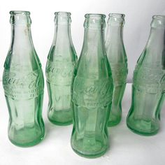 Vintage COCA COLA Trademark Registered classic Houston Waco Texas green clear glass soda pop bottles 6 1/2 oz serving #glassware #hobbleskirt #Etsy #Vintage #COCACOLA Trademark Registered #Houston #Waco #Texas #antique #glass #bottles #collectibles