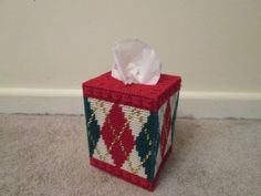 Tissue Box Cover in Plastic Canvas by CraftsforSalebyJune on Etsy