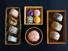 Onigiri—seasoned or filled, shaped rice—is a common snack across Japan. The also make great appetizers.