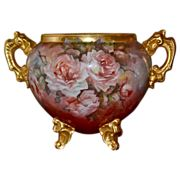 Limoges Stunning Gold Footed/Handled Huge Jardiniere Covered in Apricot Roses