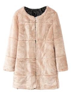 Beige Collarless Long Sleeve Longline Faux Fur Coat
