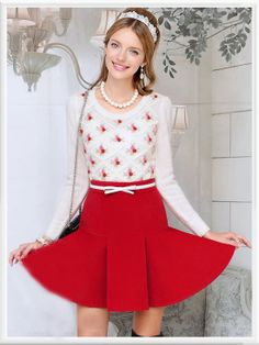 Morpheus Boutique  - White Knit Long Sleeve Rose Lovely Top Sweater