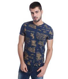 #bestoffershops  #Jack & #Jones Navy Printed #T_Shirt  Rs. 1,695  Off: 30%   Rs. 1,186  #online_shopping #best_deal