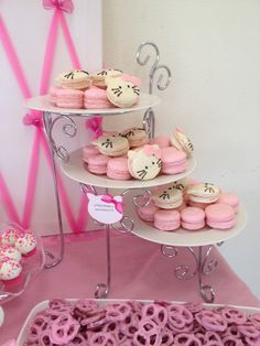 Strawberry macaroons for hello kitty baby shower