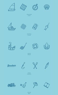 Ocean Packages - Free icon sets by Guillaume Kurkdjian, via Behance Web Design, Tool Design, Graphic Design, Brand Design, Flat Design, It Icons, Doodle Icon, Lettering, Typography