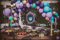 A stylish dessert table complete with custom made magic mirror on the wall prop hanging from a whimsical balloon arch at a Disney Descendants theme birthday party in Beverly Hills, CA at the Beverly Wilshire Four Seasons Hotel. 9th Birthday Parties, Birthday Party Decorations, 7th Birthday, Birthday Ideas, Maleficent Birthday Party, Halloween Birthday, Wilshire Hotel, Beverly Wilshire, Villains Party