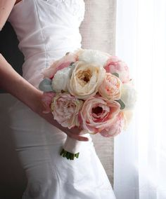 The perfect garden wedding bouquet!  Peach Ivory and Blush Peony, Ranunculus and Garden Rose Wedding Bouquet by KateSaidYes, www.katesaidyes.etsy.com