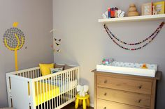 Show us your nursery – Leo's superbly styled space – Yellow and grey boys room - Oeuf cot, Ikea Hemnes dresser – Babyology
