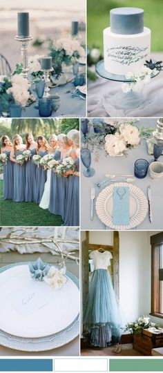 Niagara blue and white wedding color combo ideas for spring summer wedding 2017