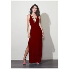 Fame&Partners Long V Neck Burgundy Krista Dress ($125) ❤ liked on Polyvore featuring dresses, gowns, burgundy, longv-necksplit, v neck gown, formal gowns, burgundy evening dress, formal evening gowns and burgundy gown