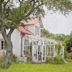 7. Примерно такой дом - белые стены, красная черепичная крыша, синие ставни и синяя входная деревянная дверь, а со стороны двора - застекленная терраса, она же и зимний сад. Сзади дома - сад, а впереди - море.