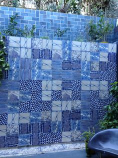 imaginative ruan hoffmann artist tile installation on the outdoor wall. create your very own tile pattern with this unique tile collection. Garden Art, Garden Design, Mexico House, Limestone Tile, Blue Crafts, Unique Tile, Tile Layout, South African Artists, Clay Tiles