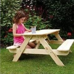 Children s Kids Outdoor Furniture Wood Play Picnic Table Bench Set Garden Patio
