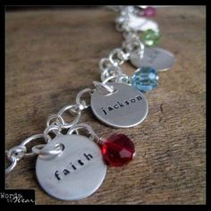 Custom Name Five Charm Bracelet Hand Stamped & Birthstone Crystals Happy Birthday to me...