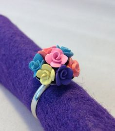 Pastel+Rosebud+Roses+Ball+Polymer+Clay+Ring+by+TheDoctorsOrders,+$8.00