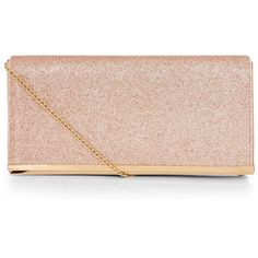 New Look Rose Gold Glitter Clutch ($20) ❤ liked on Polyvore featuring bags, handbags, clutches, gunmetal, pink purse, new look handbags, snap purse, glitter clutches and rose gold handbag