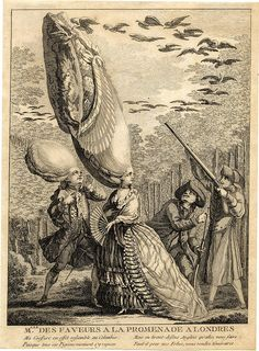 """Mlle des Faveurs a la Promenade a Londres"" - Anonymous etching from about 1775. Satire on coiffures: A Frenchwoman with a ridiculously tall hair arrangement turns in amazement as an Englishman shoots at a flock of birds nesting in it."