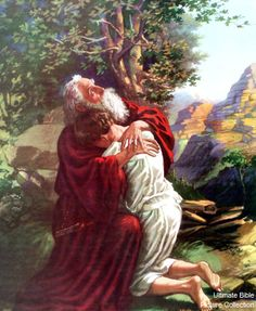 Genesis 22 Bible Pictures: Abraham and Isaac after the sacrifice