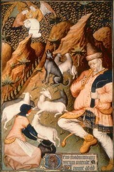 L'élevage ovin/The Sheep, Grandes heures de Rohan  Paris, BnF, département des Manuscrits, Latin 9471, fol. 85v.    Les bergers, à l'estive, procèdent à la traite des brebis. Le chien, au cou protégé par un collier anti-loup, surveille le troupeau. Chaudement vêtu et les pieds chaussés de solides galoches, le berger a délaissé la houlette pour le pipeau.