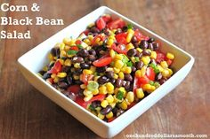 This recipe for corn and black bean salad rocks! Be careful, I ate the whole bowl! Add cilantro, rsdish,cucumber and kale Veggie Recipes, Mexican Food Recipes, Vegetarian Recipes, Cooking Recipes, Healthy Recipes, Salad Recipes, Thm Recipes, Healthy Dinners, Easy Meals