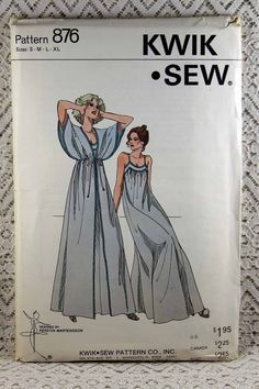 Kwik Sew 876, Misses' Nightgown and Peignoir Sewing Pattern, Misses' Robe Pattern, Misses' Pattern, Misses' Size S, M, L, XL, Uncut by Allyssecondattic on Etsy