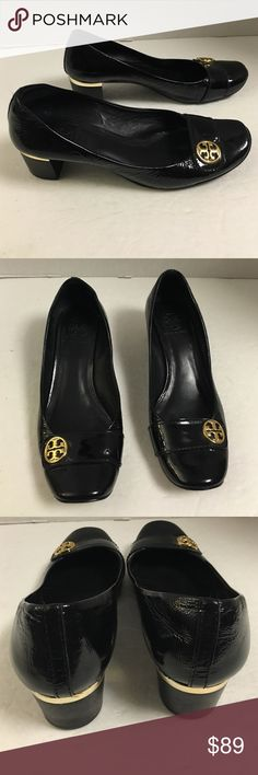 Tory Burch black patent leather gold pumps This is a very nice authentic pair of Tory Burch crinkled black patent leather pumps with gold signature hardware on the vamp. Block style heel with gold band.  Excellent condition other than wear to the outer sole. Tory Burch Shoes Heels