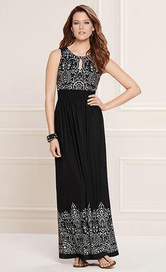 Romance Realized: Soma Keyhole Maxi Dress in Black Embroidery Print #LoveSoma
