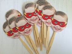 Personalized superhero masked photo cupcake by CakeFaceToppers