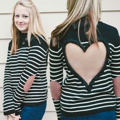 MEDIUM Heart Cut out Sweater Ready to Ship Buttoned Turtleneck Black/White Upcycled FEATURING sueded elbow patches SO Cute