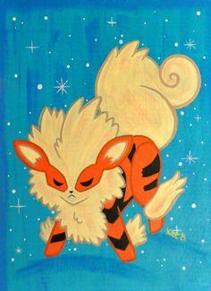 Arcanine Pokemon Painting by fuish on Etsy, $50.00