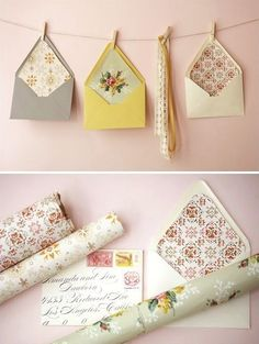 envelopes lined with vintage paper