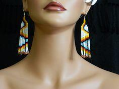 Native American Fire Sticks Beaded Earrings by LakotaCharm on Etsy, $22.00