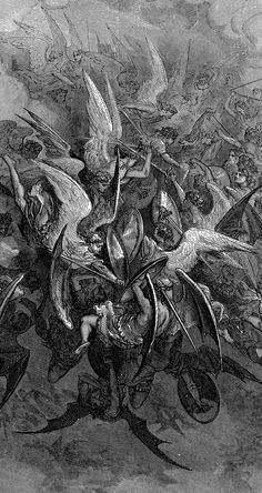 nigra-lux:  DORÉ, Gustave (1832-1883) War in heaven (Illustration for John Milton's Paradise Lost), detail1866EngravingEd. Orig. Lic. Ed.