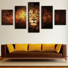 5 Piece Lion Modern Home Wall Decor Canvas Picture Art HD Print WALL  Painting Set Of Part 73