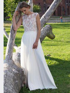 Spitzenbesetztes Brautkleid im Vintage-Stil mit fließendem Rock. Vintage Stil, Formal Dresses, Wedding Dresses, Anastasia, Rock, Fashion, Photos, Damasks, Dress Wedding